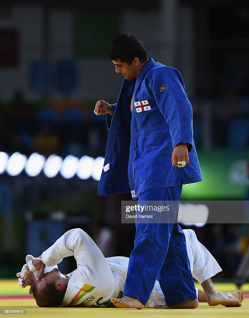 Lasha Shavdatuashvili of Georgia celebrates after defeating Denis Iartcev of Russia in the Men's 73 kg Repechage contest on Day 3 of the Rio 2016...