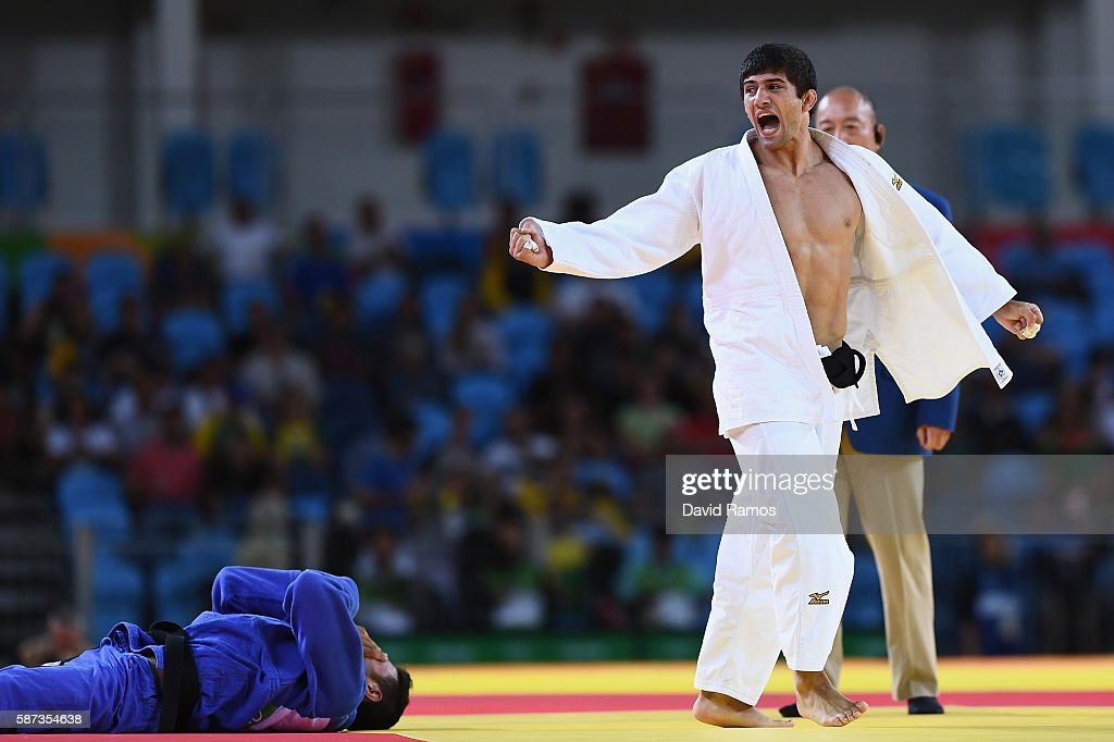 Lasha Shavdatuashvili of Georgia celebrates after defeating Sagi Muki of Israel in the Men's 73 kg Contest for Bronze Medal A on Day 3 of the Rio...