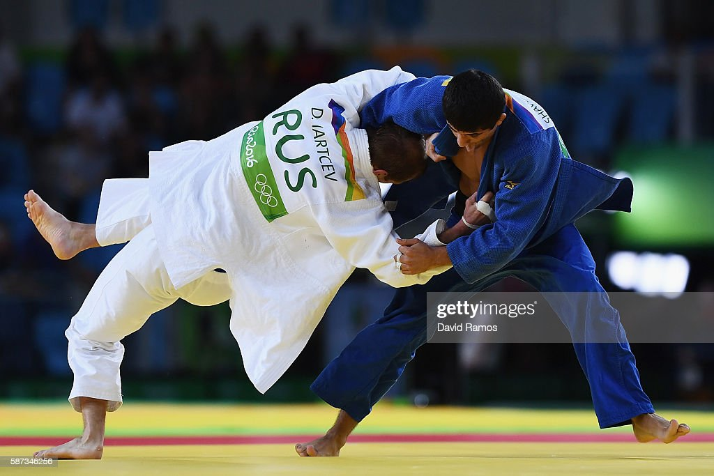 Lasha Shavdatuashvili of Georgia competes against Denis Iartcev of Russia in the Men's 73 kg Repechage contest on Day 3 of the Rio 2016 Olympic Games...