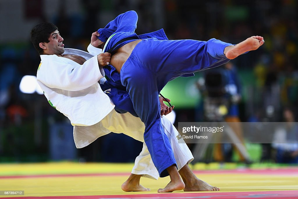 Lasha Shavdatuashvili of Georgia competes against Sagi Muki of Israel in the Men's 73 kg Contest for Bronze Medal A on Day 3 of the Rio 2016 Olympic...