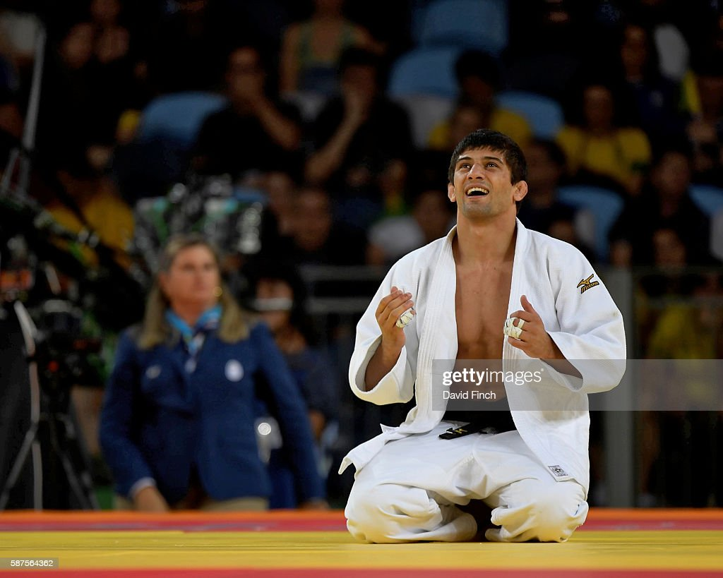 Lasha Shavdatuashvili of Georgia defeated Denis Iartcev of Russia by an ippon to win the u73kg bronze medal during day 3 of the 2016 Rio Olympic Judo...