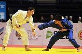 Lasha Shavdatuashvili of the Georgia in action against Rustam Orujov of Azerbaijan in their final bout of the men's 73 kg category at the Judo...