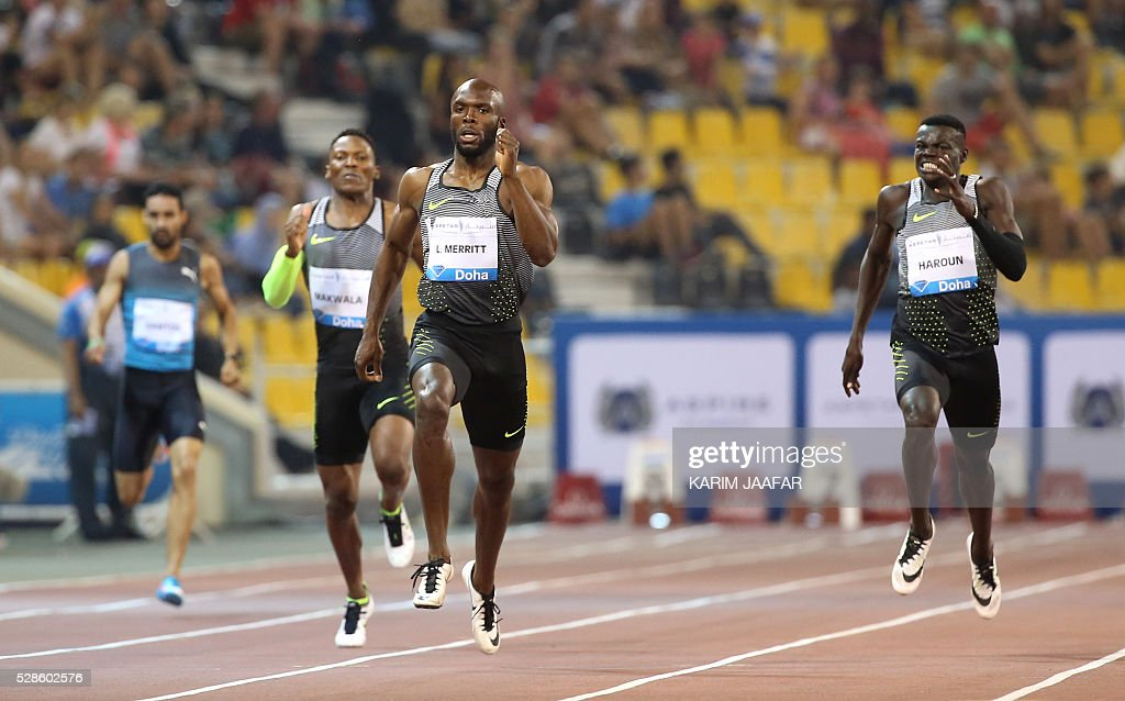 LaShawn Merrit (2-R) of the US competes in the men's 400 meters at the Diamond League athletics competition at the Suhaim bin Hamad Stadium in Doha, on May 6, 2016. / AFP / KARIM