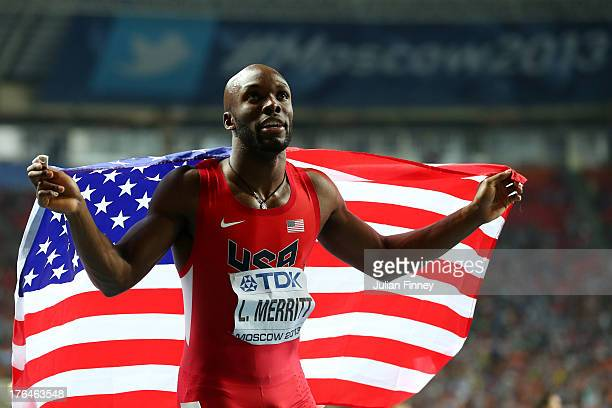 LaShawn Merritt of the United States celebrates winning gold in the Men's 400 metres final during Day Four of the 14th IAAF World Athletics...