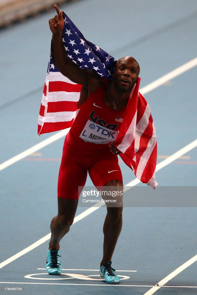 <a gi-track='captionPersonalityLinkClicked' href=/galleries/search?phrase=LaShawn+Merritt&family=editorial&specificpeople=546556 ng-click='$event.stopPropagation()'>LaShawn Merritt</a> of the United States celebrates winning gold in the Men's 400 metres final during Day Four of the 14th IAAF World Athletics Championships Moscow 2013 at Luzhniki Stadium on August 13, 2013 in Moscow, Russia.