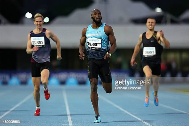 LaShawn Merritt of the United States crosses the line to victory in the Men's 400 metres Open during the IAAF Melbourne World Challenge at Olympic...