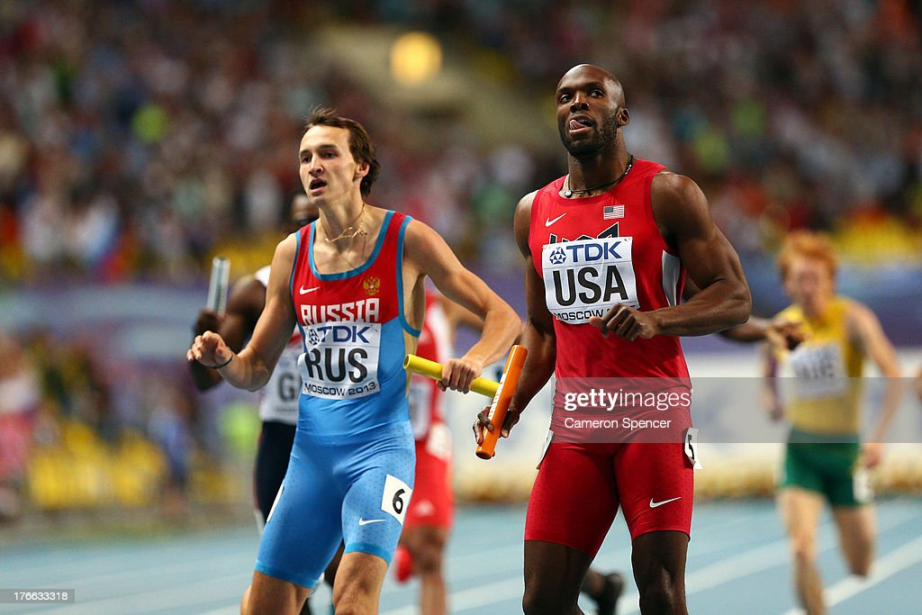 LaShawn Merritt of the United States crosses the line to win gold in the Men's 4x400 metres final during Day Seven of the 14th IAAF World Athletics Championships Moscow 2013 at Luzhniki Stadium at Luzhniki Stadium on August 16, 2013 in Moscow, Russia.