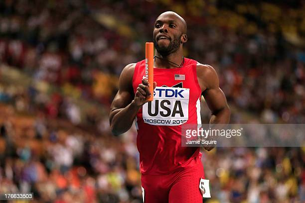 LaShawn Merritt of the United States crosses the line to win gold in the Men's 4x400 metres final during Day Seven of the 14th IAAF World Athletics...