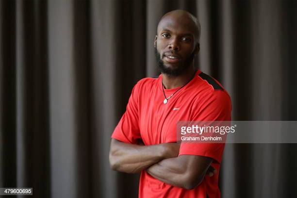 LaShawn Merritt of the United States poses during the John Landy Lunch at Federation Square on March 20 2014 in Melbourne Australia