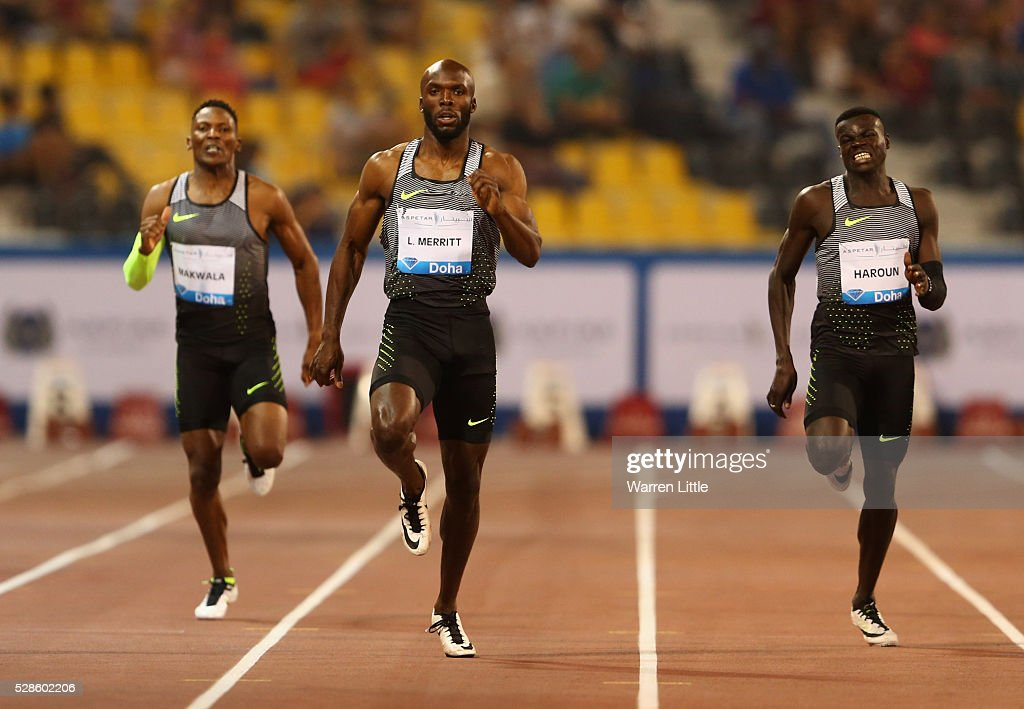<a gi-track='captionPersonalityLinkClicked' href=/galleries/search?phrase=LaShawn+Merritt&family=editorial&specificpeople=546556 ng-click='$event.stopPropagation()'>LaShawn Merritt</a> of the United States (C) races to victory ahead of Isaac Makwala of Botswana (L) and Abdalleh Haroun of Qatar (R) during the Doha IAAF Diamond League 2016 meeting at Qatar Sports Club on May 6, 2016 in Doha, Qatar.