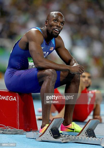 Lashawn Merritt of the United States reacts after placing third in the Men's 400 meter final on Day 9 of the Rio 2016 Olympic Games at the Olympic...