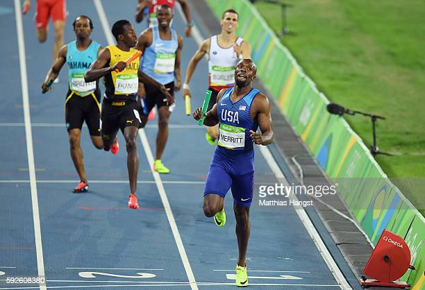 Lashawn Merritt of the United States reacts after winning gold in the Men's 4 x 400 meter Relay on Day 15 of the Rio 2016 Olympic Games at the...