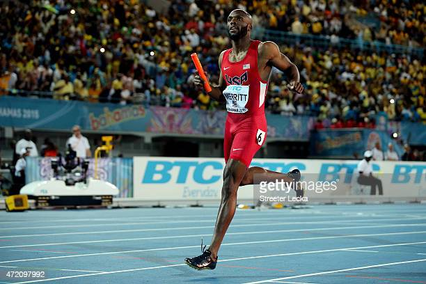 LaShawn Merritt of the United States wins the final of the men's 4 x 400 metres relay on day two of the IAAF/BTC World Relays Bahamas 2015 at Thomas...