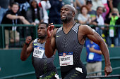 LaShawn Merritt second pace crosses the finishline in the Men's 200 Meter Final during the 2016 US Olympic Track Field Team Trials at Hayward Field...