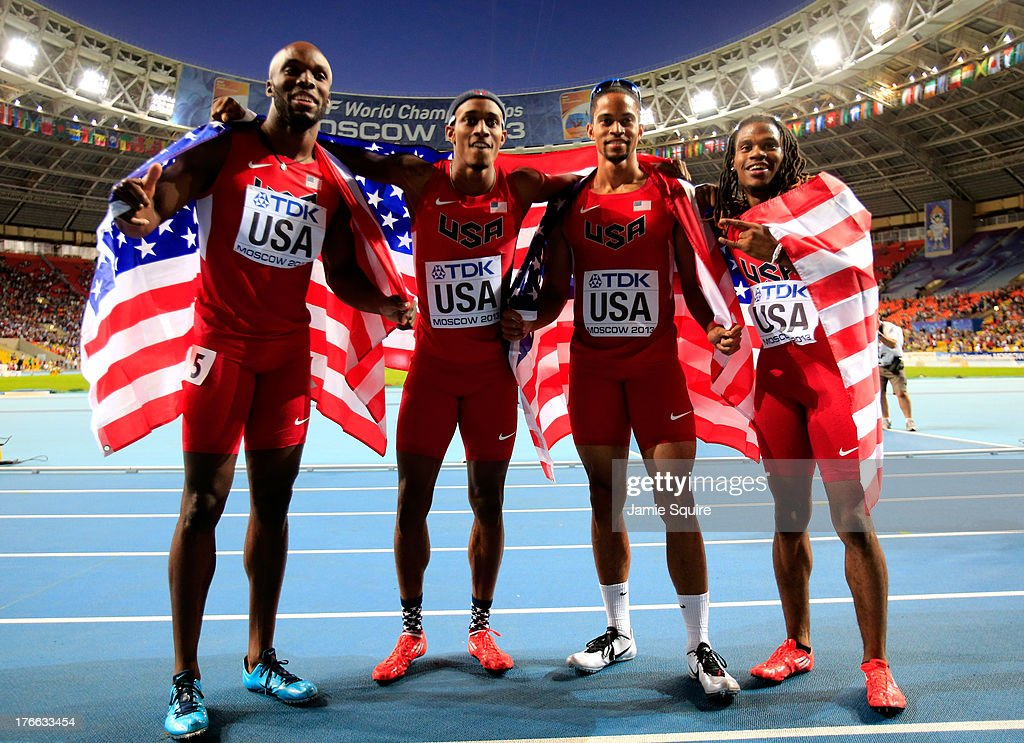 LaShawn Merritt,Tony McQuay, Arman Hall and David Verburg of the United States celebrate winning gold in the Men's 4x400 metres relay final during Day Seven of the 14th IAAF World Athletics Championships Moscow 2013 at Luzhniki Stadium at Luzhniki Stadium on August 16, 2013 in Moscow, Russia.