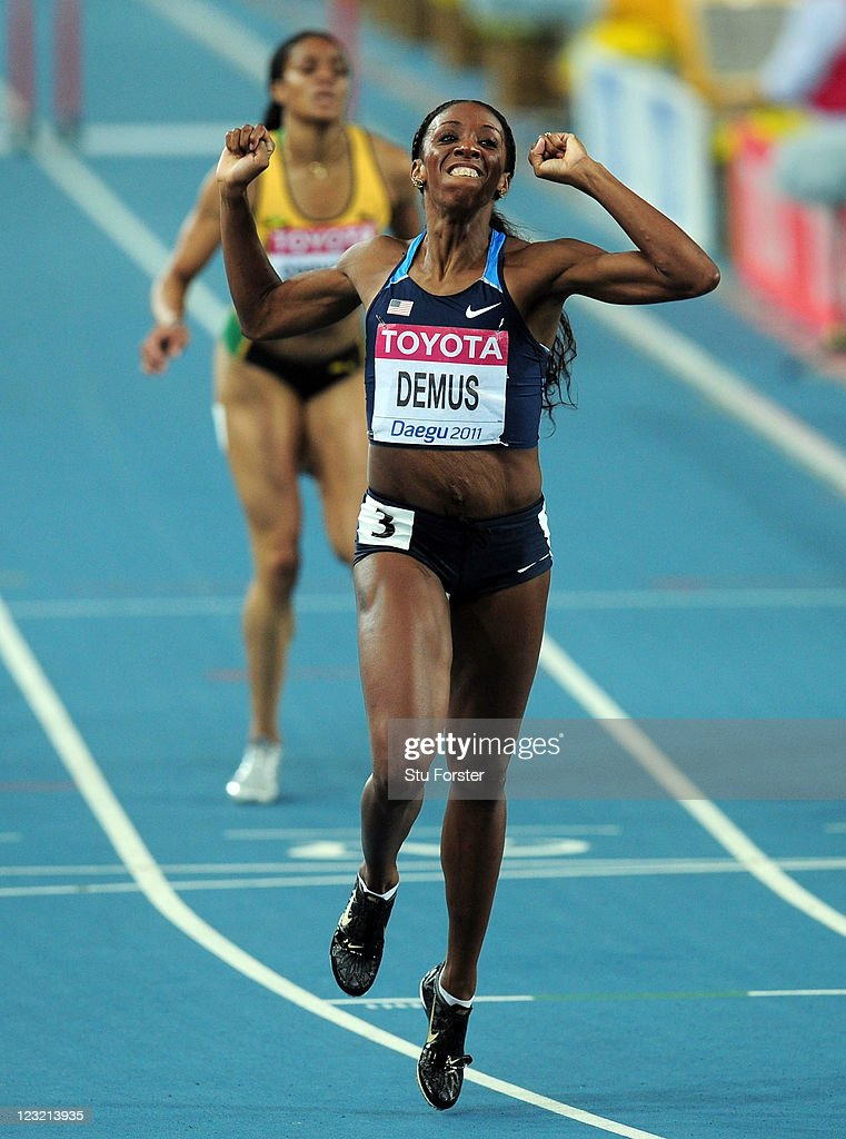 Lashinda Demus of United States celebrates after crossing the finish line to claim gold in the women's 400 metres hurdles final during day six of the 13th IAAF World Athletics Championships at the Daegu Stadium on September 1, 2011 in Daegu, South Korea.