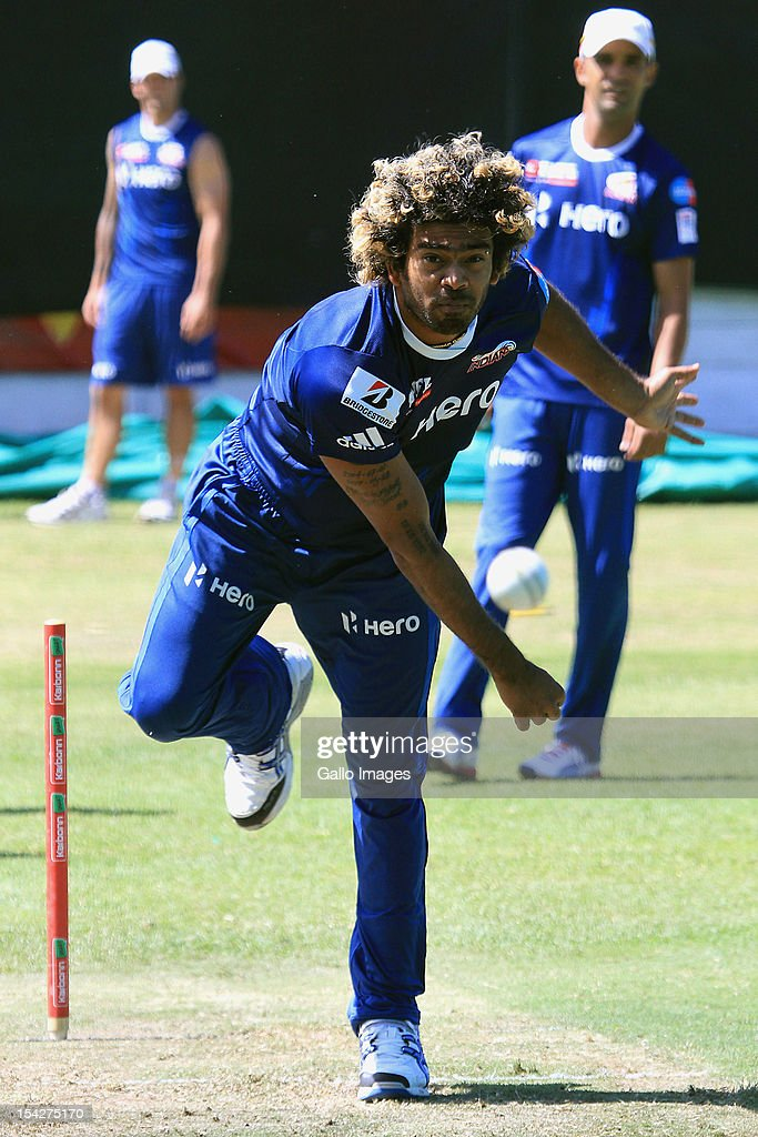 <a gi-track='captionPersonalityLinkClicked' href=/galleries/search?phrase=Lasith+Malinga&family=editorial&specificpeople=171602 ng-click='$event.stopPropagation()'>Lasith Malinga</a> of Mumbai Indians attends a training session during the Champions League Twenty20, at Sahara Park Newlands on October 17, 2012 in Cape Town, South Africa.