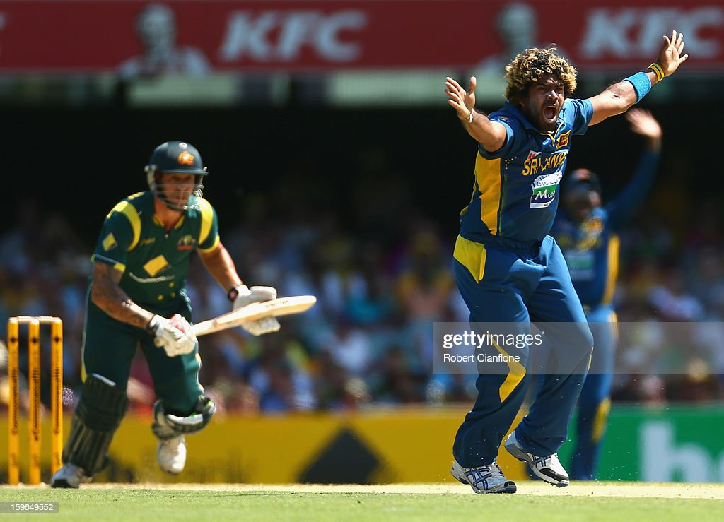 Lasith Malinga of Sri Lanka appeals unsuccessfully for the wicket of Mitchell Johnson of Australia during game three of the Commonwealth Bank One Day International Series between Australia and Sri Lanka at The Gabba on January 18, 2013 in Brisbane, Australia.