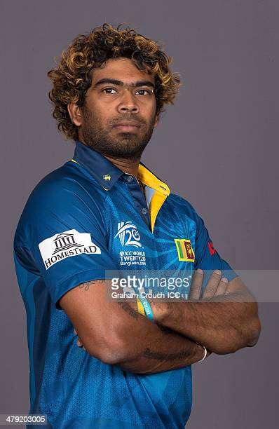 Lasith Malinga of Sri Lanka at the headshot session at the Pan Pacific Hotel Dhaka in the lead up to the ICC World Twenty20 Bangladesh 2014 on March...