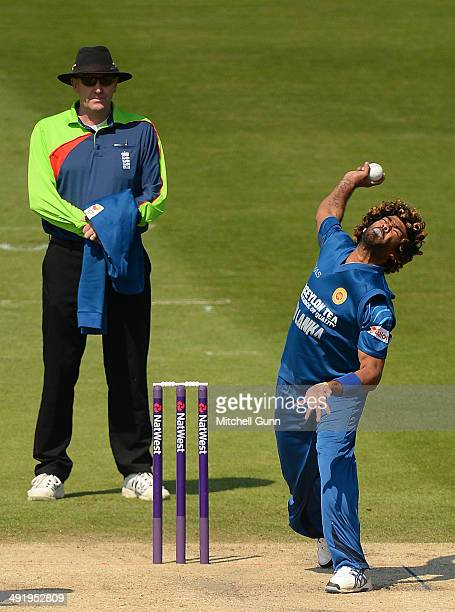 Lasith Malinga of Sri Lanka bowling during the T20 match between The Sussex Sharks and Sri Lanka played at the BrightonandHoveJobscom County Ground...