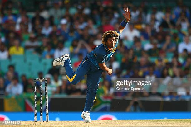 Lasith Malinga of Sri Lanka bowls during the 2015 ICC Cricket World Cup match between South Africa and Sri Lanka at Sydney Cricket Ground on March 18...