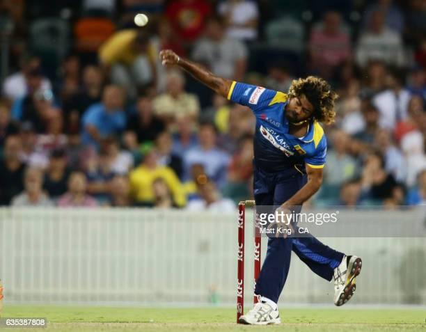 Lasith Malinga of Sri Lanka bowls during the T20 warm up match between the Australian PM's XI and Sri Lanka at Manuka Oval on February 15 2017 in...