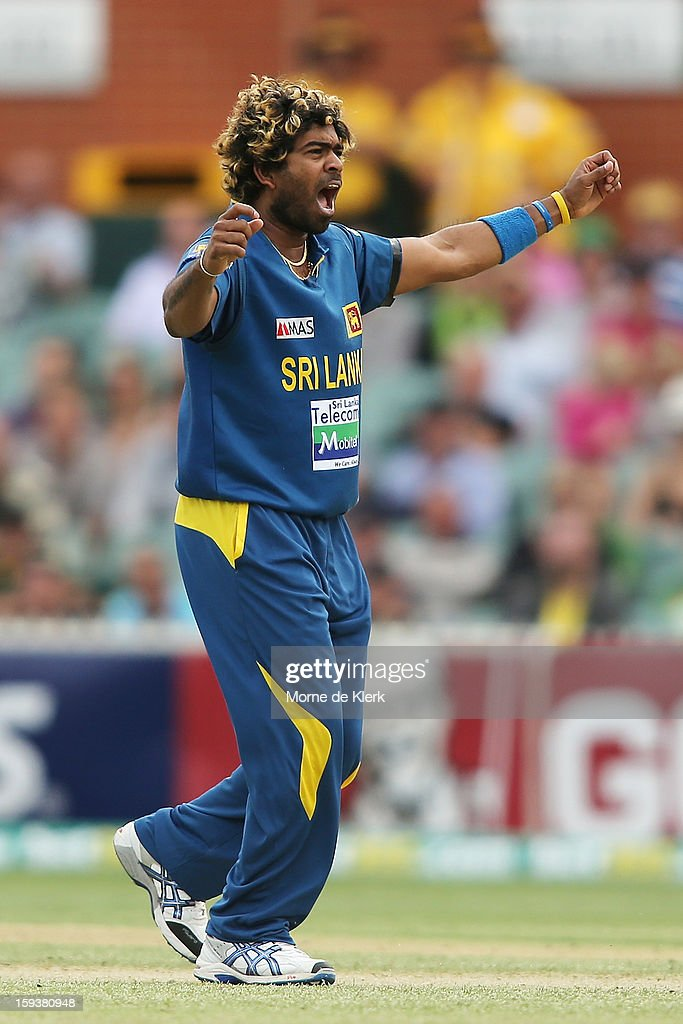 Lasith Malinga of Sri Lanka celebrates after he got the wicket of Kane Richardson of Australia during game two of the Commonwealth Bank One Day International series between Australia and Sri Lanka at Adelaide Oval on January 13, 2013 in Adelaide, Australia.