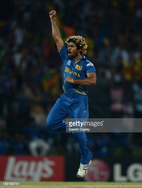 Lasith Malinga of Sri Lanka celebrates dismissing Alex Hales of England during the ICC World Twenty20 2012 Super Eights Group 1 match between Sri...