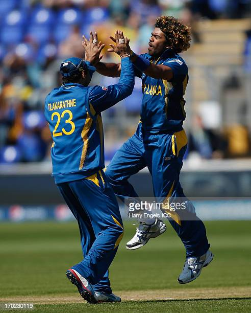Lasith Malinga of Sri Lanka celebrates dismissing Daniel Vettori of New Zealand during the ICC Champions Trophy group A match between Sri Lanka and...