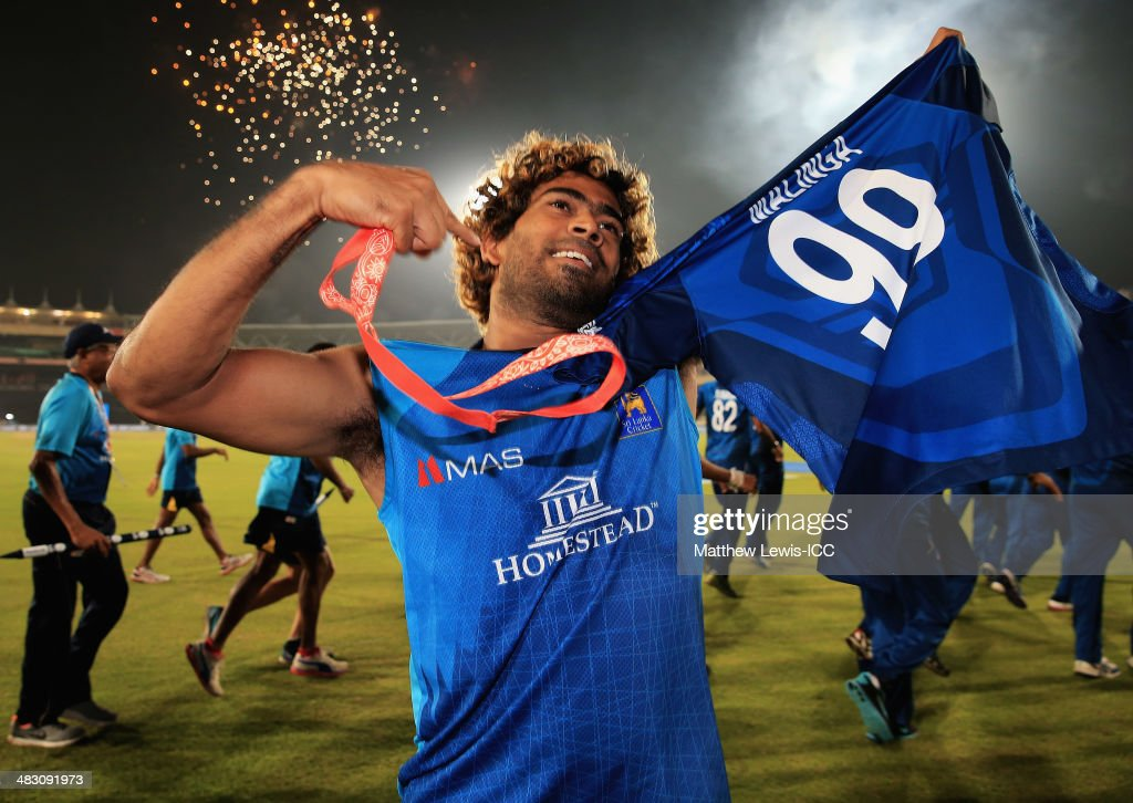 <a gi-track='captionPersonalityLinkClicked' href=/galleries/search?phrase=Lasith+Malinga&family=editorial&specificpeople=171602 ng-click='$event.stopPropagation()'>Lasith Malinga</a> of Sri Lanka celebrates his team's win over India after the ICC World Twenty20 Bangladesh 2014 Final between India and Sri Lanka at Sher-e-Bangla Mirpur Stadium on April 6, 2014 in Dhaka, Bangladesh.