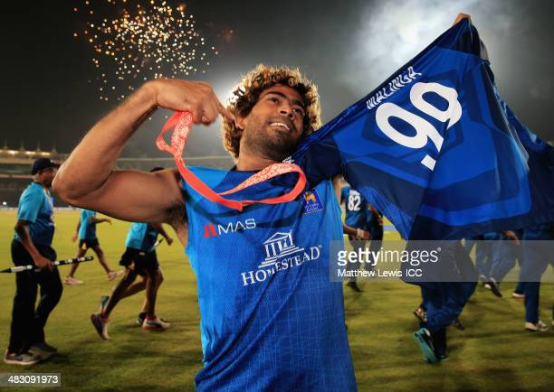 Lasith Malinga of Sri Lanka celebrates his team's win over India after the ICC World Twenty20 Bangladesh 2014 Final between India and Sri Lanka at...