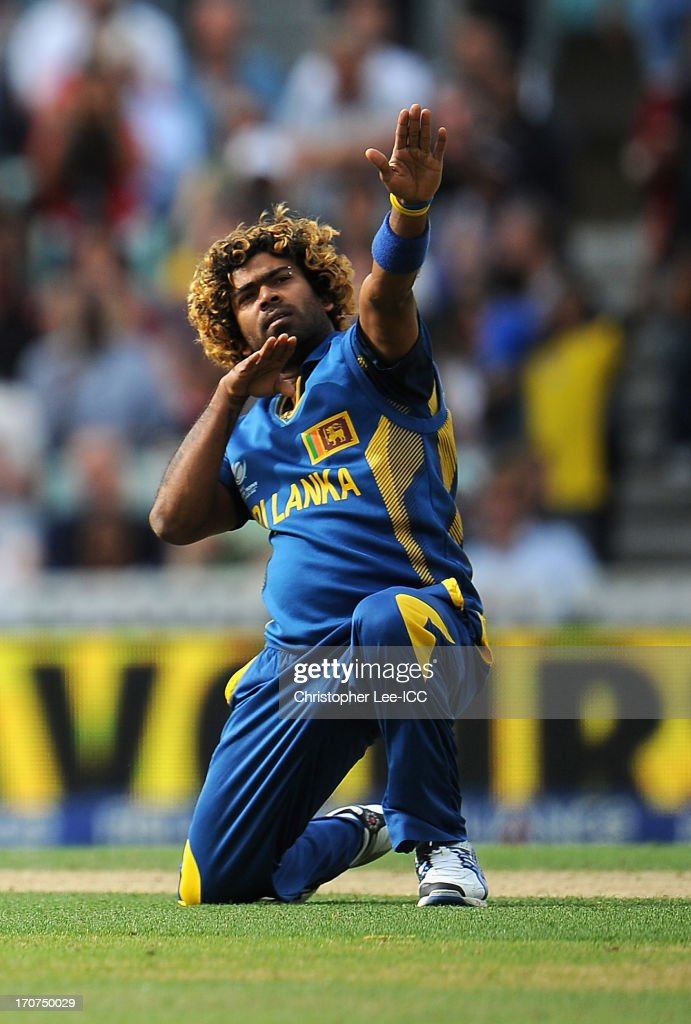 <a gi-track='captionPersonalityLinkClicked' href=/galleries/search?phrase=Lasith+Malinga&family=editorial&specificpeople=171602 ng-click='$event.stopPropagation()'>Lasith Malinga</a> of Sri Lanka celebrates taking the wicket of Glenn Maxwell of Australia during the ICC Champions Trophy Group A match between Sri Lanka and Australia at The Oval on June 17, 2013 in London, England.