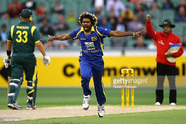 Lasith Malinga of Sri Lanka celebrates taking the wicket of Peter Forrest of Australia during the One Day International match between Australia and...