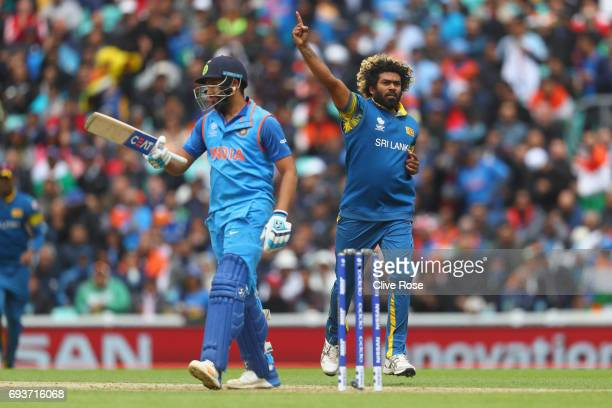 Lasith Malinga of Sri Lanka celebrates taking the wicket of Rohit Sharma of India during the ICC Champions trophy cricket match between India and Sri...