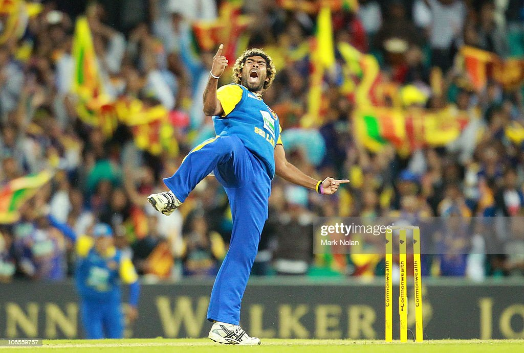 <a gi-track='captionPersonalityLinkClicked' href=/galleries/search?phrase=Lasith+Malinga&family=editorial&specificpeople=171602 ng-click='$event.stopPropagation()'>Lasith Malinga</a> of Sri Lanka celebrates the final wicket during the Commonwealth Bank Series match between Australia and Sri Lanka at Sydney Cricket Ground on November 5, 2010 in Sydney, Australia.