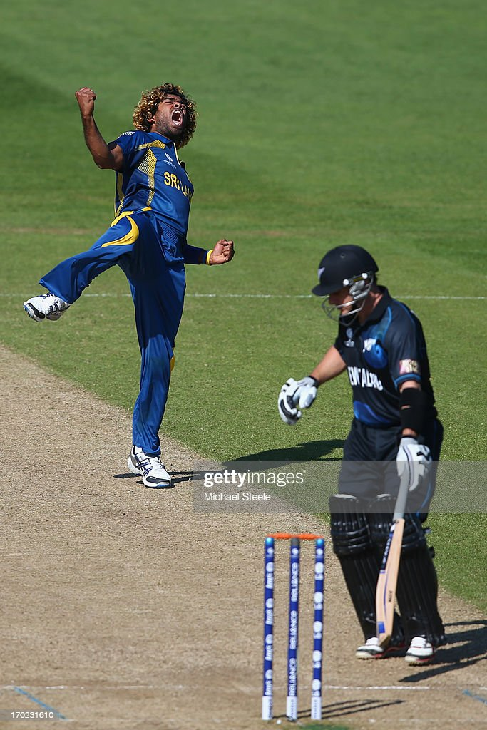 <a gi-track='captionPersonalityLinkClicked' href=/galleries/search?phrase=Lasith+Malinga&family=editorial&specificpeople=171602 ng-click='$event.stopPropagation()'>Lasith Malinga</a> (L) of Sri Lanka celebrates trapping <a gi-track='captionPersonalityLinkClicked' href=/galleries/search?phrase=Nathan+McCullum&family=editorial&specificpeople=884481 ng-click='$event.stopPropagation()'>Nathan McCullum</a> of New Zealand lbw during the Group A ICC Champions Trophy match between Sri Lanka and New Zealand at the SWALEC Stadium on June 9, 2013 in Cardiff, Wales.