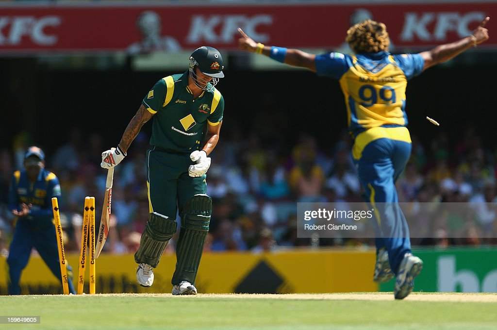 Lasith Malinga of Sri Lanka clean bowls Mitchell Johnson of Australia during game three of the Commonwealth Bank One Day International Series between Australia and Sri Lanka at The Gabba on January 18, 2013 in Brisbane, Australia.