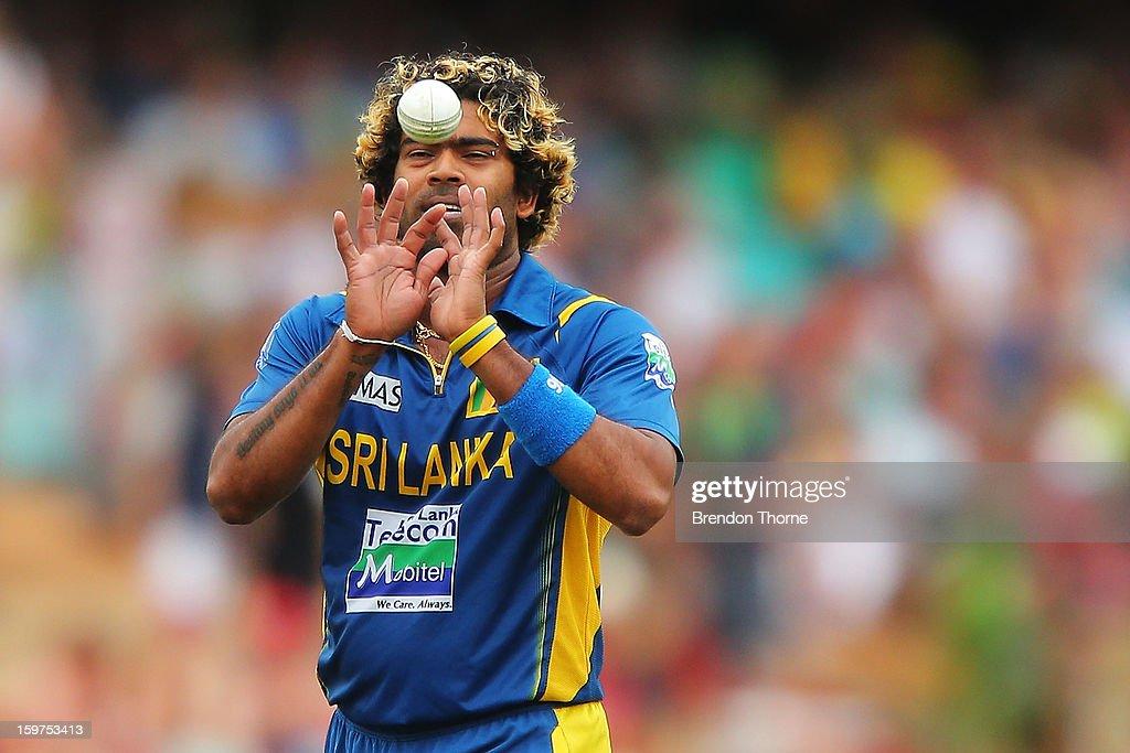 Lasith Malinga of Sri Lanka fields during game four of the Commonwealth Bank one day international series between Australia and Sri Lanka at Sydney Cricket Ground on January 20, 2013 in Sydney, Australia.