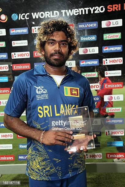 Lasith Malinga of Sri Lanka Man of the match for the Super Eights Group 1 match between England and Sri Lanka at Pallekele Cricket Stadium on October...