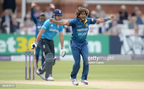 Lasith Malinga of Sri Lanka successfully appeals for the wicket of England captain Alastair Cook during the 4th Royal London One Day International...