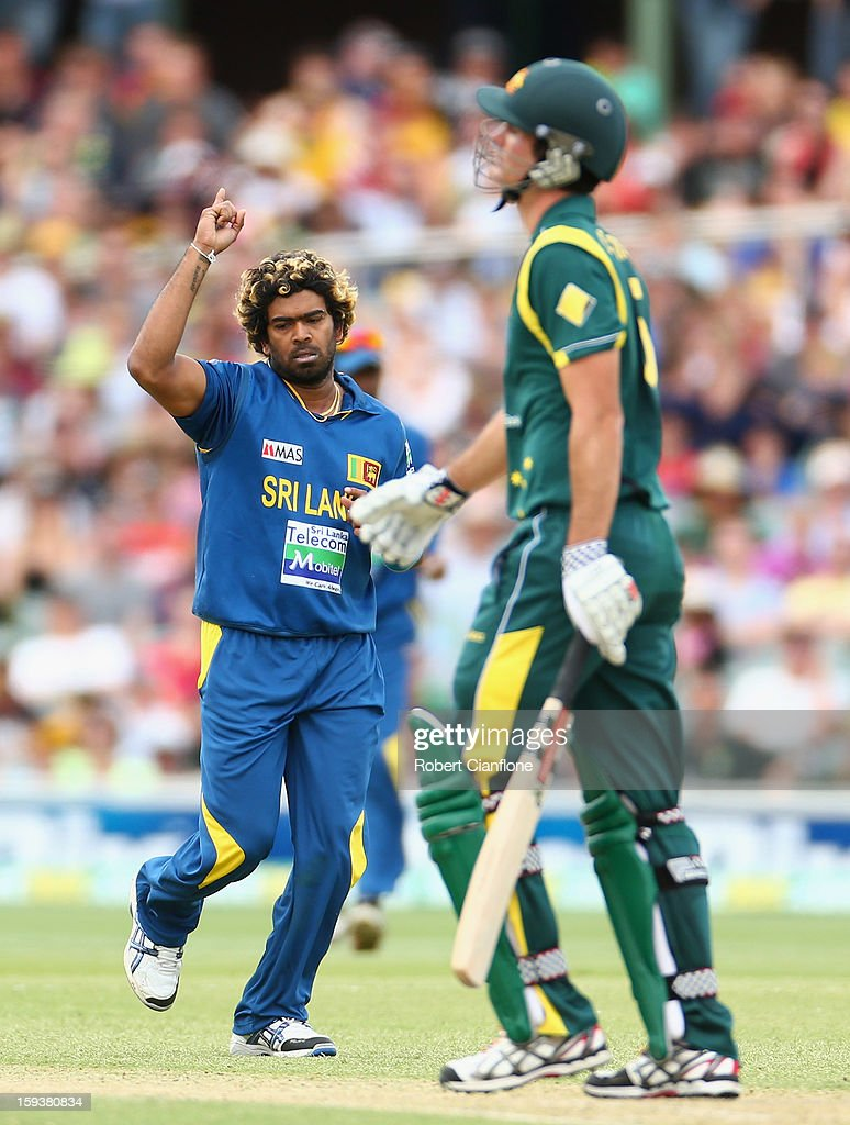 Lasith Malinga of Sri Lanka takes the wicket of Ben Cutting of Australia during game two of the Commonwealth Bank One Day International series between Australia and Sri Lanka at Adelaide Oval on January 13, 2013 in Adelaide, Australia.