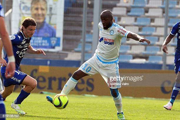 Lassana Diarra during the French Ligue 1 match between SC Bastia and Olympique de Marseille at Stade Armand Cesari on April 3 2016 in Bastia France