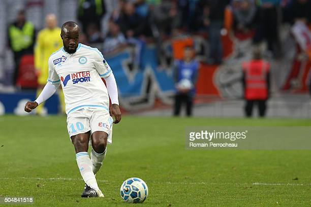 Lassana Diarra for Marseille in actoin during the French League Cup quarter final between Toulouse and Marseille at Stadium Municipal on January 13...