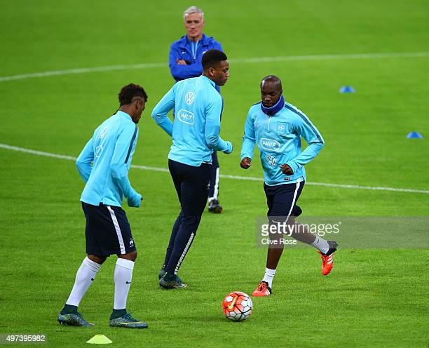 Lassana Diarra of France warms up during the France training session at Wembley Stadium on November 16 2015 in London England