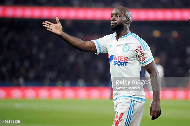 Lassana Diarra of Olympique de Marseille reacts after an off side during the Ligue 1 game between Paris SaintGermain and Olympique de Marseille at...