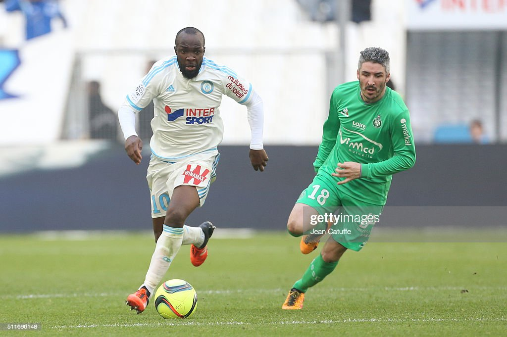 <a gi-track='captionPersonalityLinkClicked' href=/galleries/search?phrase=Lassana+Diarra&family=editorial&specificpeople=607251 ng-click='$event.stopPropagation()'>Lassana Diarra</a> of OM and <a gi-track='captionPersonalityLinkClicked' href=/galleries/search?phrase=Fabien+Lemoine&family=editorial&specificpeople=4784581 ng-click='$event.stopPropagation()'>Fabien Lemoine</a> of Saint-Etienne in action during the French Ligue 1 match between Olympique de Marseille (OM) and AS Saint-Etienne (ASSE) at New Stade Velodrome on February 21, 2016 in Marseille, France.