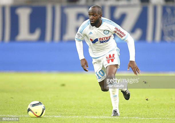 Lassana Diarra of OM in action during the French Ligue 1 match between Olympique de Marseille and En Avant Guingamp at New Stade Velodrome on January...