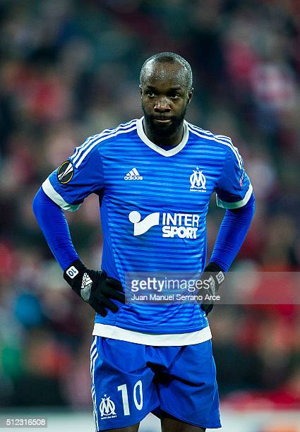 Lassana Diarra reacts during the UEFA Europa League Round of 32 Second Leg match between Athletic Club and Marseille at San Mames Stadium on February...