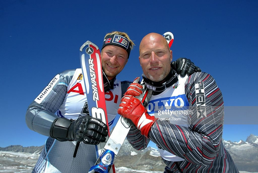 Lasse Kjus and Kjetil Andre Aamodt pose for the camera during day two of the FIS Ski World Cup Mens Super Giant Slalom competition on November 28, 2004 in Lake Louise, Canada.