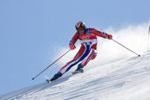 Lasse Kjus of Norway competes in Men's Giant Slalom final during Day 10 of the Turin 2006 Winter Olympic Games on February 20 2006 at Sestriere Colle...